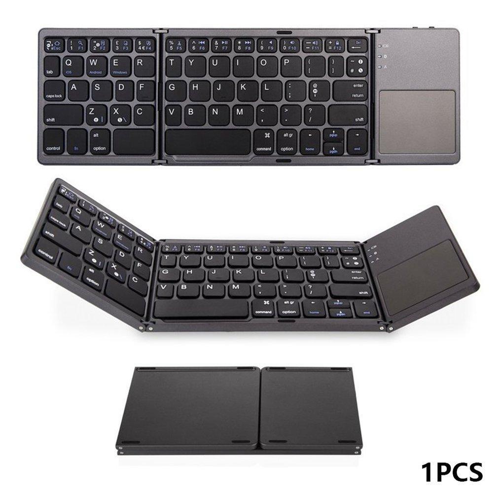 Mini Bluetooth Folding Keyboard Com Touchpad sem fio dobrável teclado Três dobráveis Gaming Chaves bordo para o telefone móvel Tablet PC Portátil