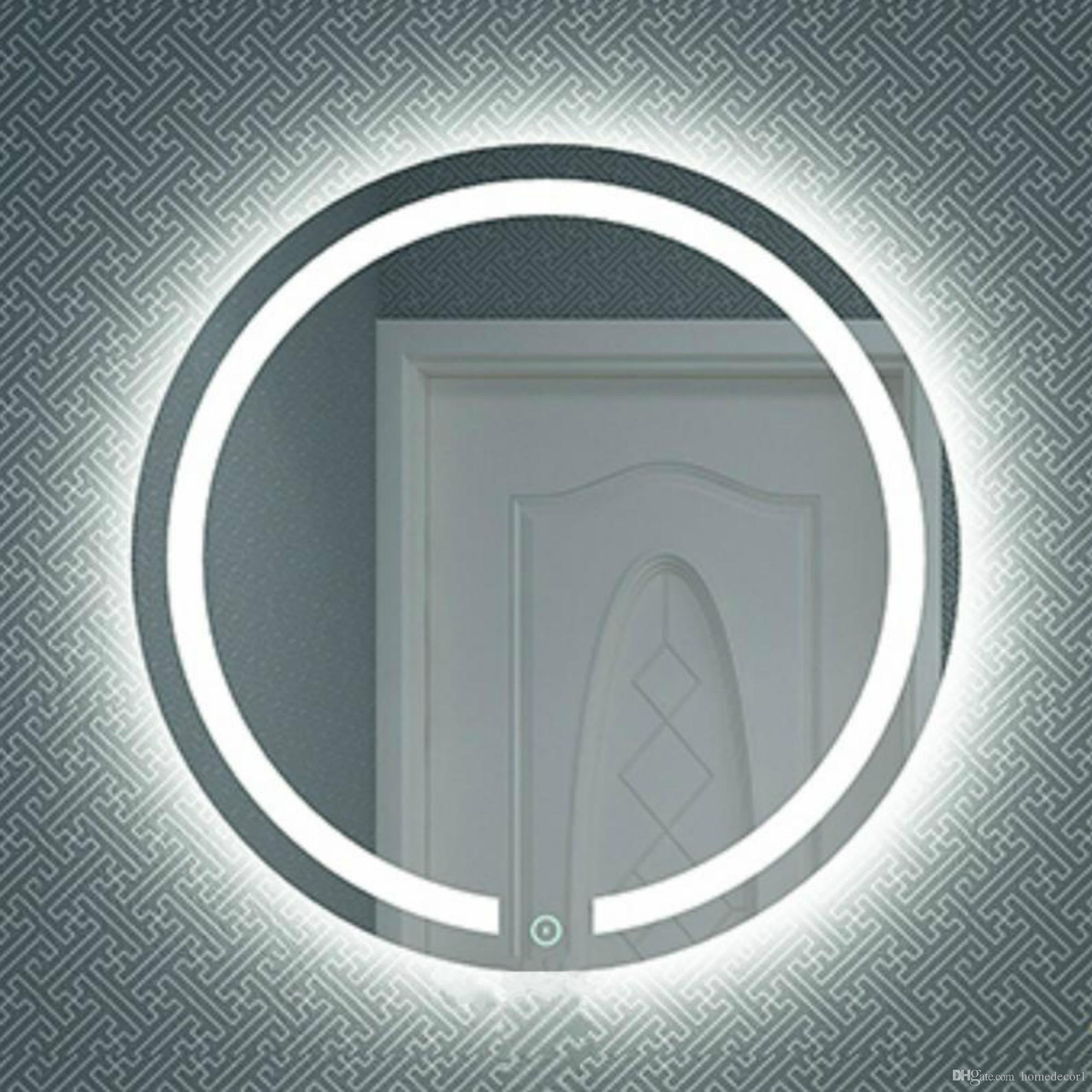 جولة الجدار مضاءة مضيئة led الغرور الحمام مرآة مكافحة الضباب باهتة اللمس نوم أثاث المنزل ماكياج التجميل ضوء مرآة