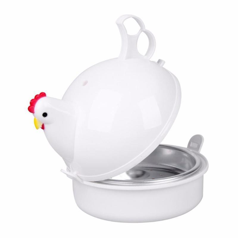 Mikrowelle Eierkocher Huhn-Form-Ei-Kocher-Edelstahl-Dampfkessel-Dampfer für 4 Eier Werkzeug Küche Kochen Gadgets