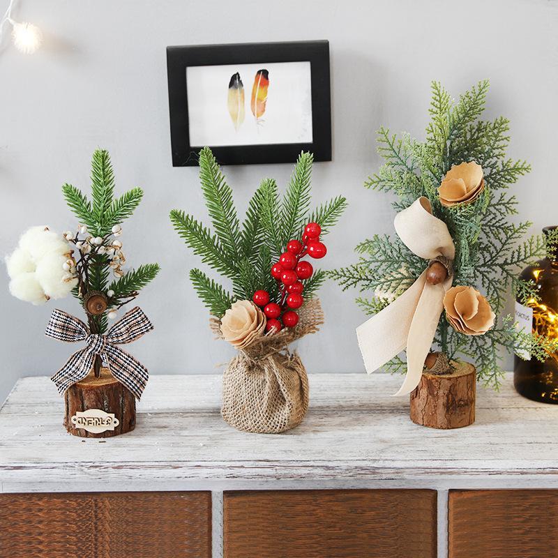 25 CM 2019 neue jahr Weihnachtsschmuck für zu hause Fenster Mini Weihnachtsbaum Dekoration Topf Festival Szene Layout Dekorationen