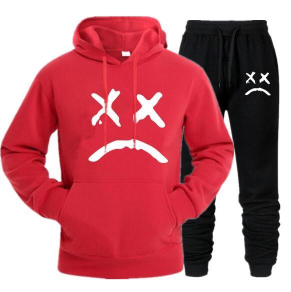I nuovi uomini della tuta con cappuccio Due pezzi + pantaloni autunno / inverno Lil Peep magliette felpate Suit Maschio fare jogging Tute QJT01
