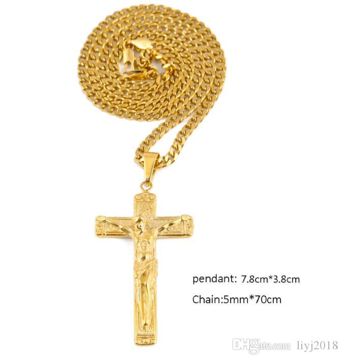 Passion Jesus Cross Necklace Stainless Steel Stereo Engraved Pendant Men's Hip Hop