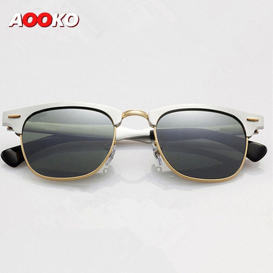Luxus- Sonnenbrillen für Herren Sport-Sonnenbrillen Soscar 3507 Aluminium Magnesium Rahmen Grün Classic G-15 Linsen mit Original Leder Box