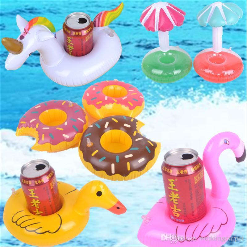 Flotador inflable Copa del flamenco del sostenedor de taza sostenedor de la bebida Posavasos inflable para piscina colchones de aire para la Fiesta de la Copa