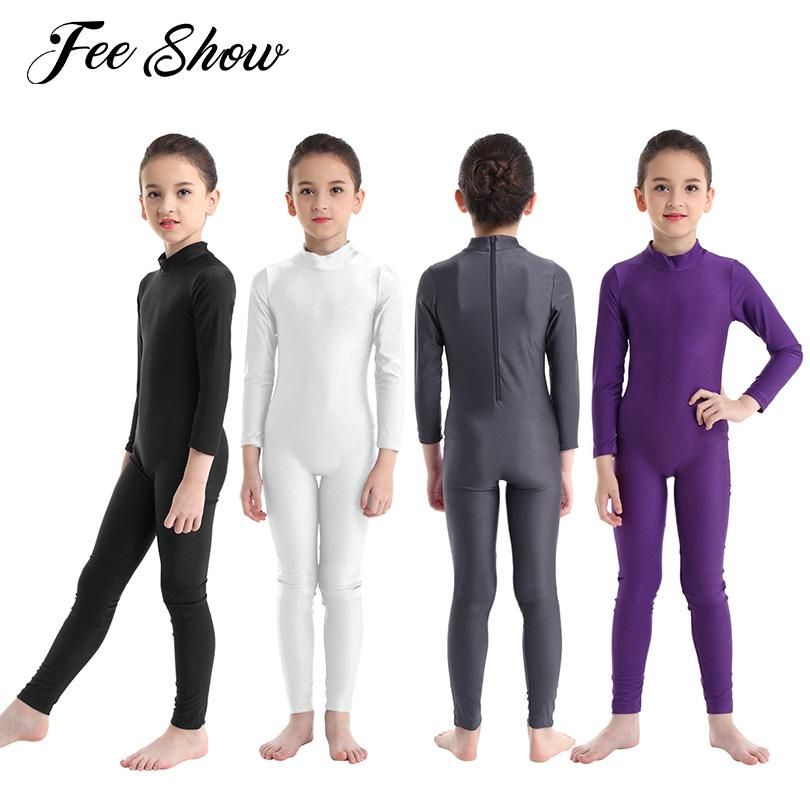 2019 Hot Kids Girls Long Sleeves Zippered Ballet Dress Dancewear Gymnastics Leotard Jumpsuit Unitard Slim fit Dancewear SZ 3-8