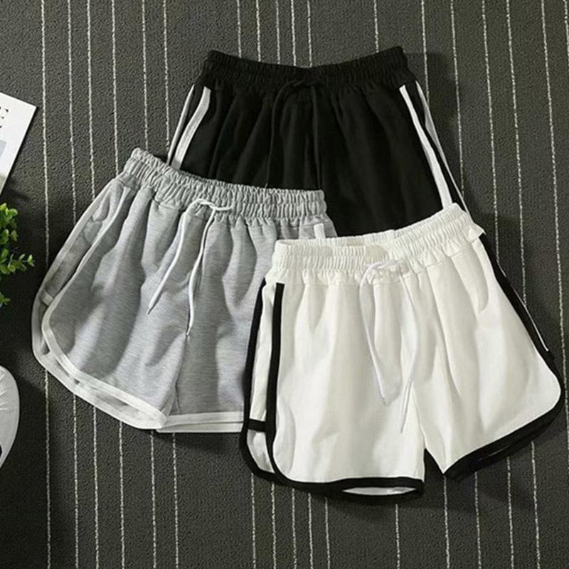 2020 New Arrival Mulheres curto Verão Casual Sólidos Shorts com cordão alta cintura solta curto para meninas macia Arrefecer feminino curto S-2XL T200701