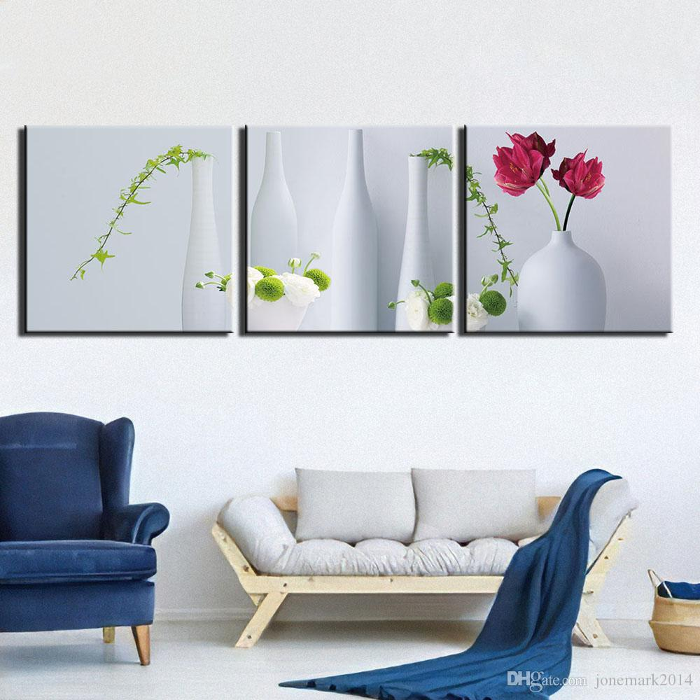 Холст Wall Art Pictures Home Decor 3 шт Картины Гостиной HD Печатного Натюрморт ваза цветок Постеры Рамочная