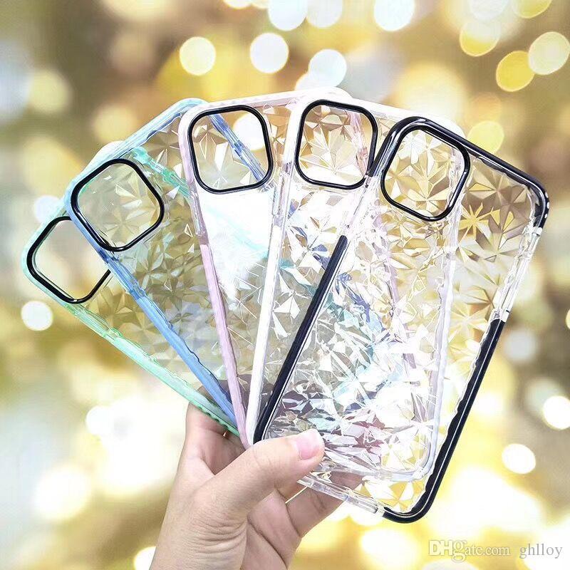 Diamant cas pour l'iPhone 11 XR Pro XS MAX souple TPU antichocs Cover Protector cristal de scintillement de Bling en caoutchouc cas pour Samsung S10 plus note10 9
