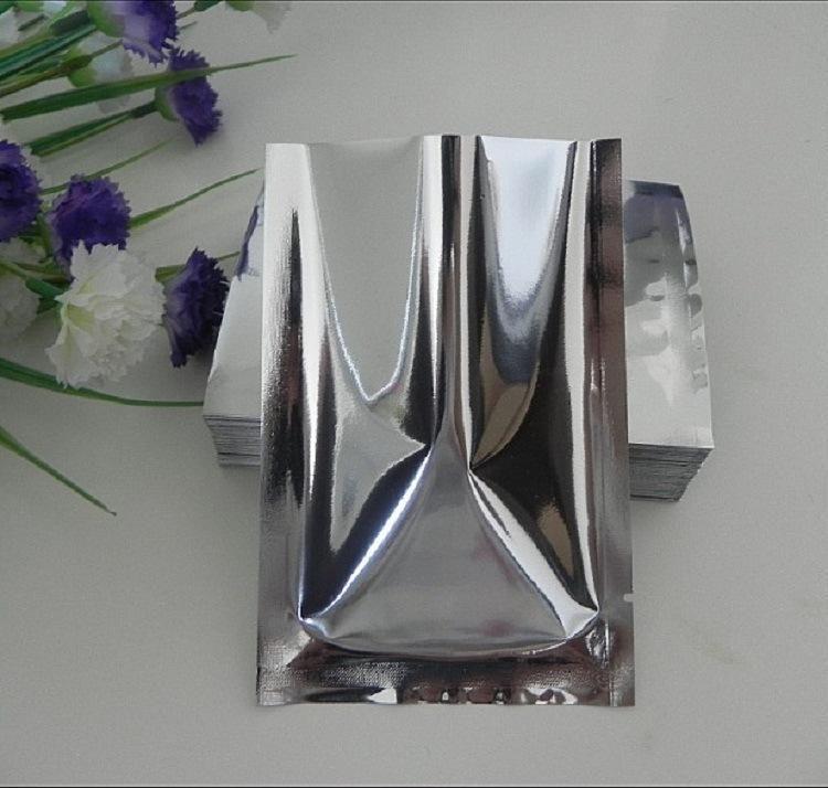 100pcs/lot Aluminum Foil Glossy Vacuum Bag 3 Sides Open Top Foil Packaging Bag Moisture Proof Food Heat Seal mylar Storage Bag