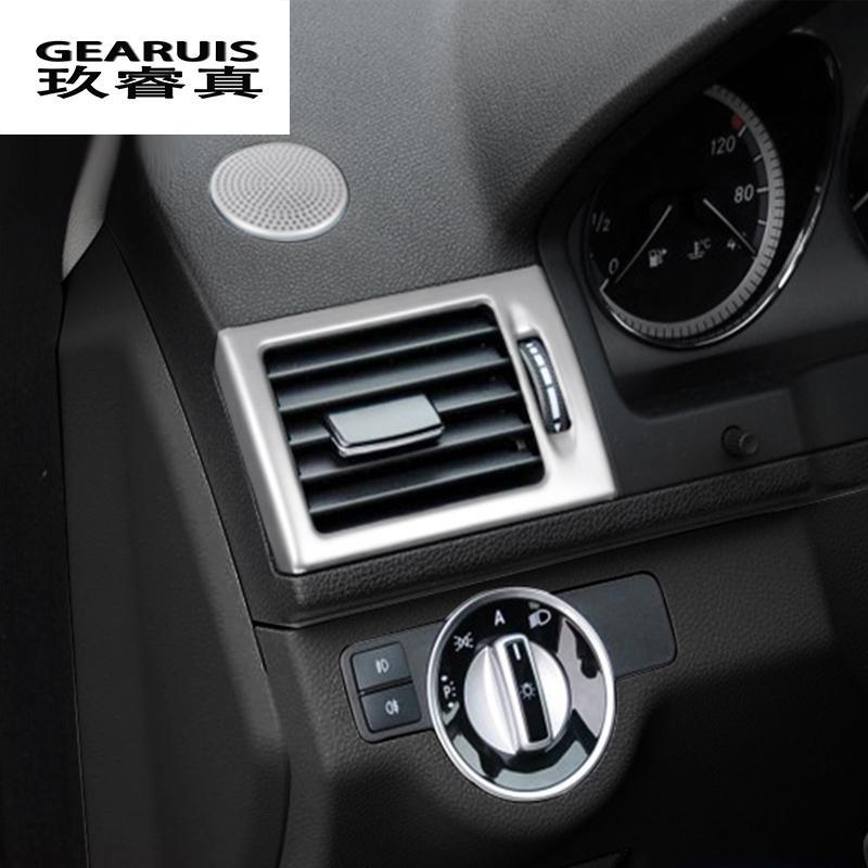 سيارة التصميم ac الجبهة الهواء منفذ تريم الإطار الديكور ملصقات يغطي مرسيدس بنز c فئة W204 اكسسوارات السيارات الداخلية