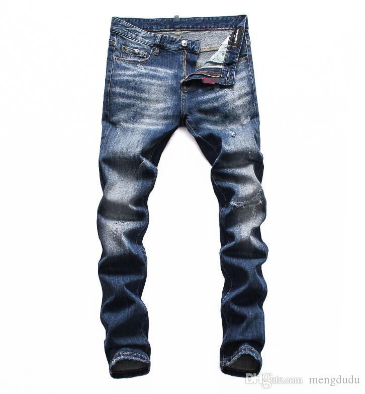 Jeans de crime léger trou nouvelle mode simple été jeans crime grand continu classique cowboy mode loisirs solide designer jeans 0014