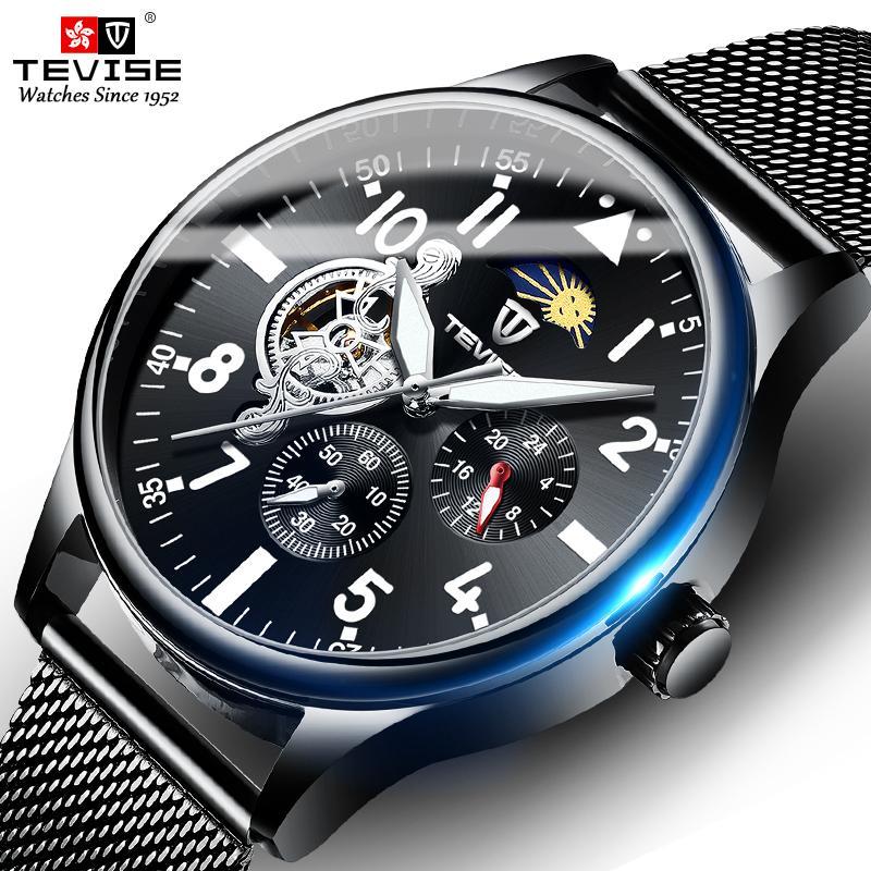 جديد وصول tevise الرجال التلقائي الميكانيكية ووتش الكامل الصلب tourbillon ساعة اليد القمر المرحلة كرونوغراف ساعة