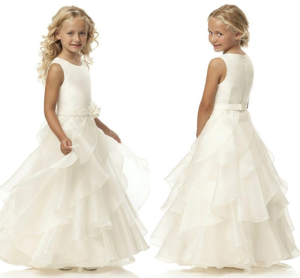 Venta caliente una línea cucharada Organza de marfil de la correa del florista vestidos de longitud de flor de la correa vestidos de niña para la boda
