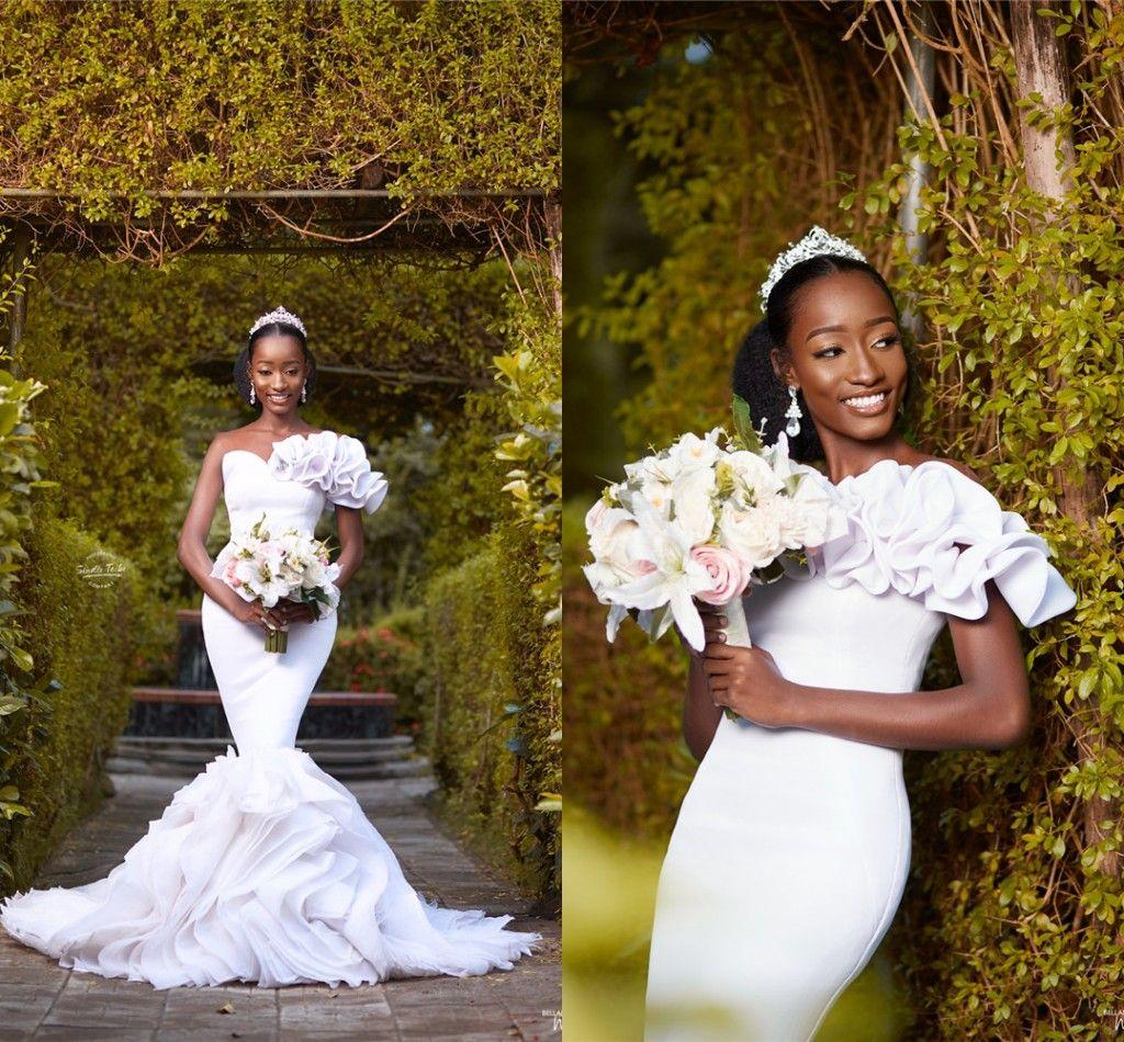 African White Mermaid Wedding Dresses Black Girl Elegant Open Back Plus Size Sweep Train Bridal Gown