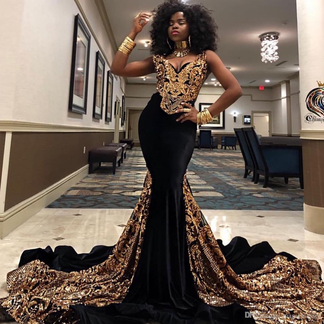 Gold Sequined Mermaid Prom Dresses V Neck South African Black Girls Evening  Gowns Plus Size Special Occasion Dress Abendkleider 2K19 Genealogy Prom ...