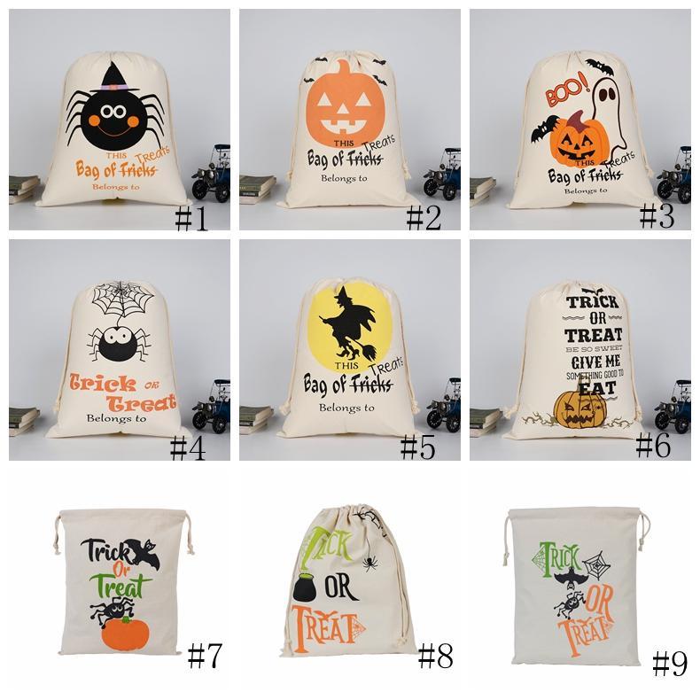 Halloween Candy Bag Geschenk Sack Leckereien oder Trickkürbis Gedruckt Leinwand Taschen Hallowmas Weihnachtsfeier Festival Kordelzug Tasche GGA2558