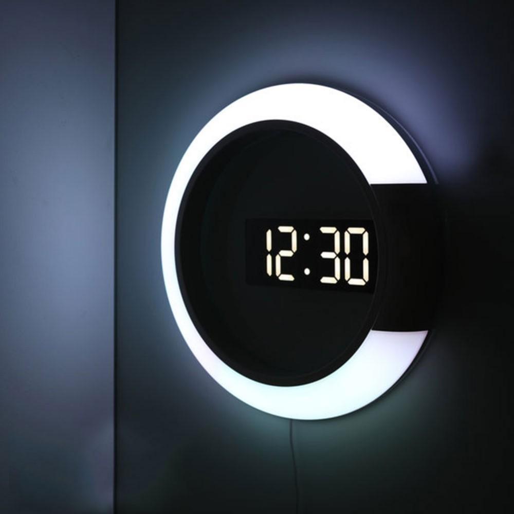 3D-LED-Digital-Tabellen-Wecker Spiegel Hohl Wanduhr Modernes Design Nacht für Heim Wohnzimmer Dekorationen