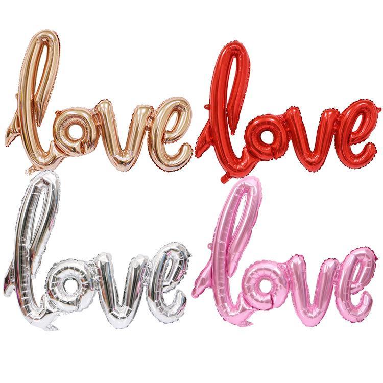 2019 venta caliente de Cartas de Amor Globo de helio de gran tamaño Decoración Día de fiesta de la boda de los globos del papel de aluminio de colores mezclados Material de San Valentín