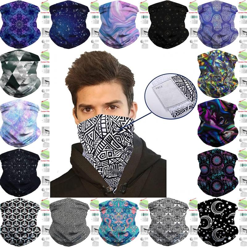 DHL Shipping Neck Gaiter Scarf Face Cover Bandanas with Carbon Filter for Men Women Sports Headwrap Cycling Headband Outdoor Headwear B67F