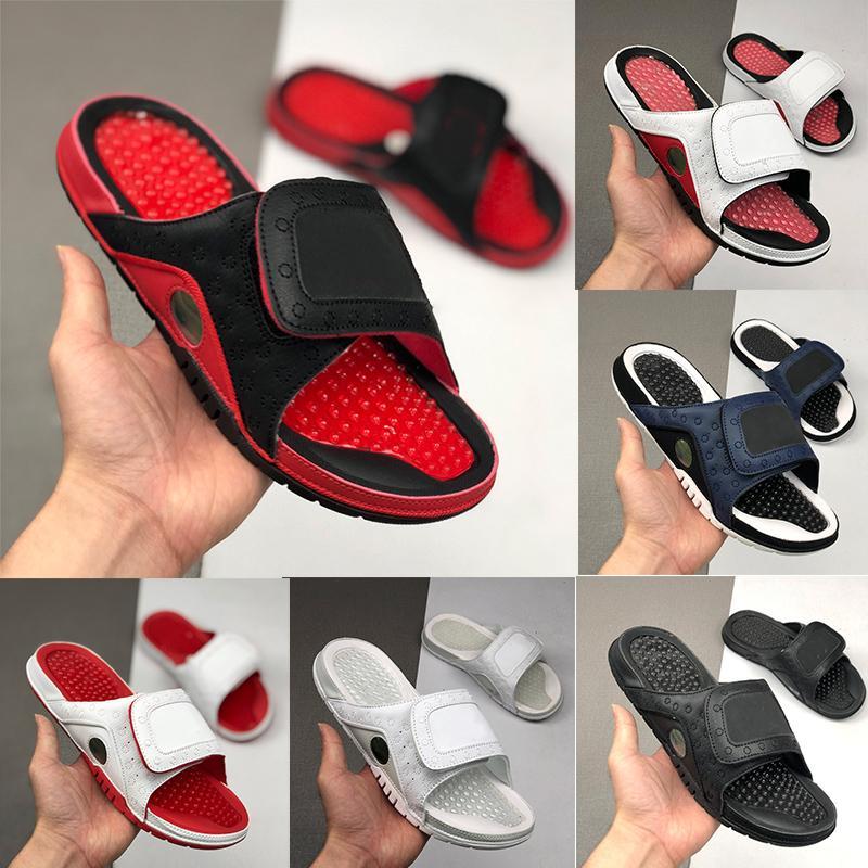 Гидр 13 13s XIII Jumpman тапочек для мужчин женщин синей черных белых красных пляжных сандалий горок обуви Летних Плоских Толстых флип-флоп 36-45