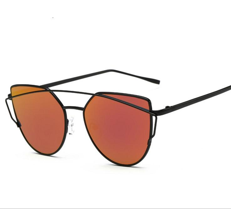 N38 Mirror Flat Lense Women Cat Eye Sunglasses Classic Brand Twin-Beams Rose Gold Frame Sun Glasses for Women