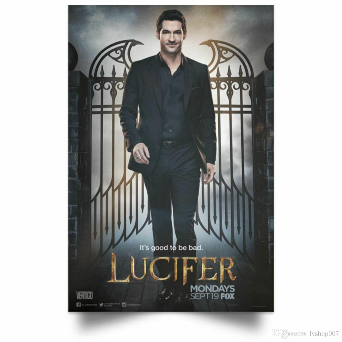 Lucifer Affiches TV décoration murale Série Saison 1Tom Ellis Art Soie Affiche d'impression 016