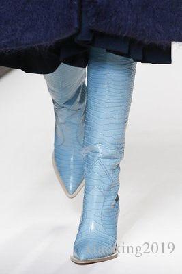 패션 디자이너 이상한 하이힐 진짜 가죽 신발 신형 가을 겨울 부츠 런웨이 긴 여자 부츠