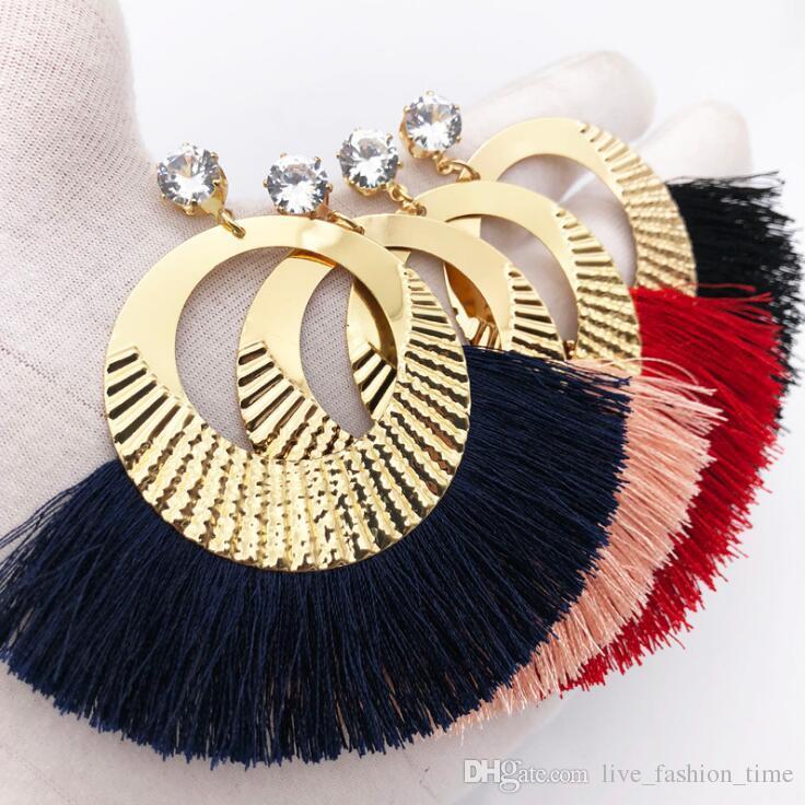 4 Colors Tassel Earrings For Women Ethnic Big Drop Earrings Bohemia Fashion Jewelry Trendy Cotton Rope Fringe Long Dangle Jewelry Gift Y035