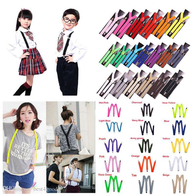 1pc YENİ 15 Renkler Womens Unisex Büyüleyici Klipsli Suspenders Elastik Y-Biçimli Ayarlanabilir Pantolon Korseler Sıcak