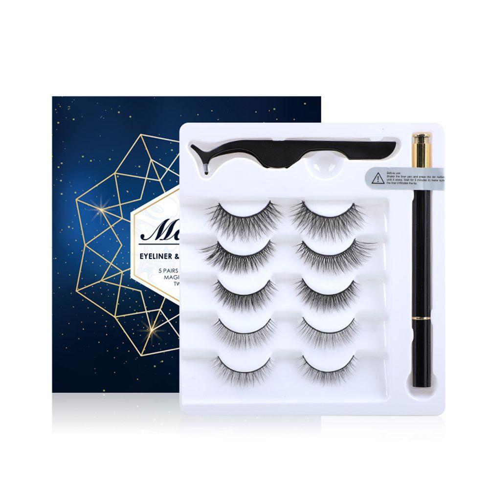 3/5 pares 3D Pestañas no magnéticas Eyeliadores autoadhesivos Ajuste el ejemplo delineador de ojos sin tinción con un traje de pestañas falsas afiladas