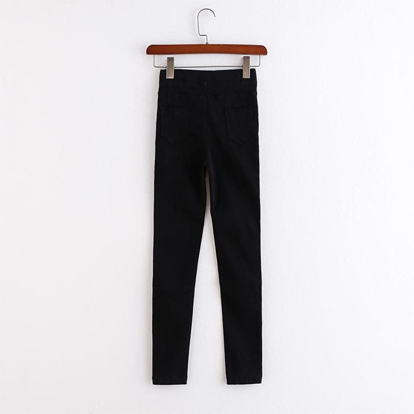Toptan-Casual Katı İnce Kadın Jeans Pantolon Yeni Gelenler Düğmeler Kadın Pantolon Moda BODYCON Streetwears Şık Pantolon