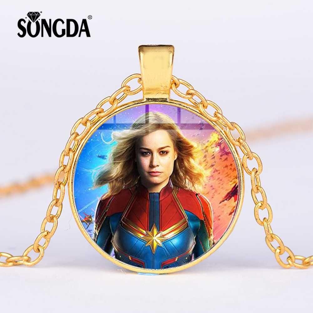 SONGDA Captain Marvel Necklace Marvel America Carol Danvers Photo Mosaic Glass Cabochon Pendant Long Necklace Souvenirs Jewelry