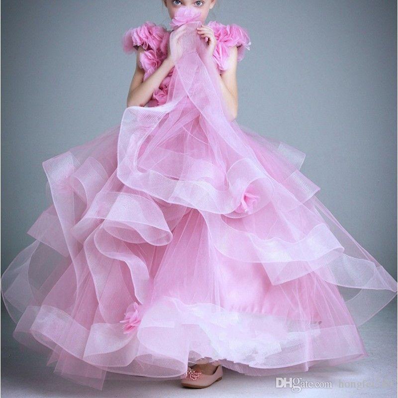 Superbe manches princesse fleur filles Robes de soirée de mariage de dentelle robe de bal Pageant Commumion Robe