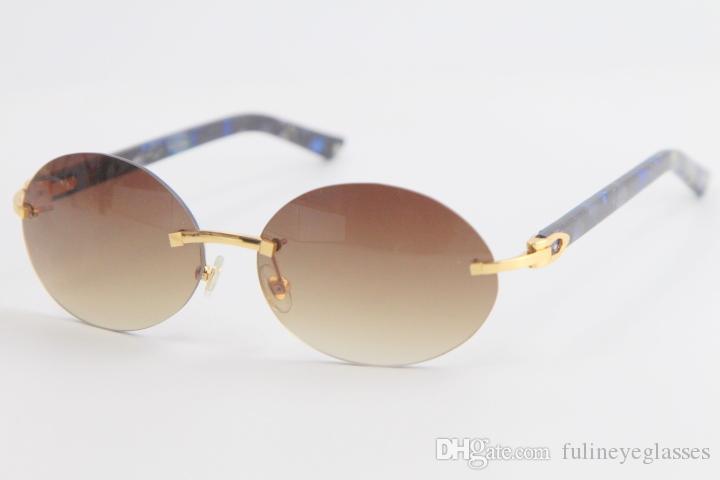 상자 C 장식 골드 프레임 안경 판매 금속 무테 대리석 판자 선글라스 라운드 남성 안경 빈티지 남성과 여성