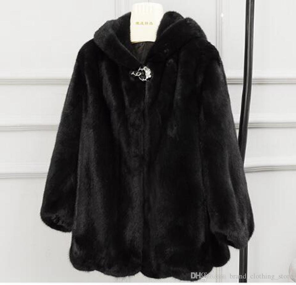 여자 가을, 겨울 유럽과 미국의 레저 패션 새로운 부티크 슬림 성격의 추세 비즈니스 후드 긴 밍크 모피 코트 / S - 3XL
