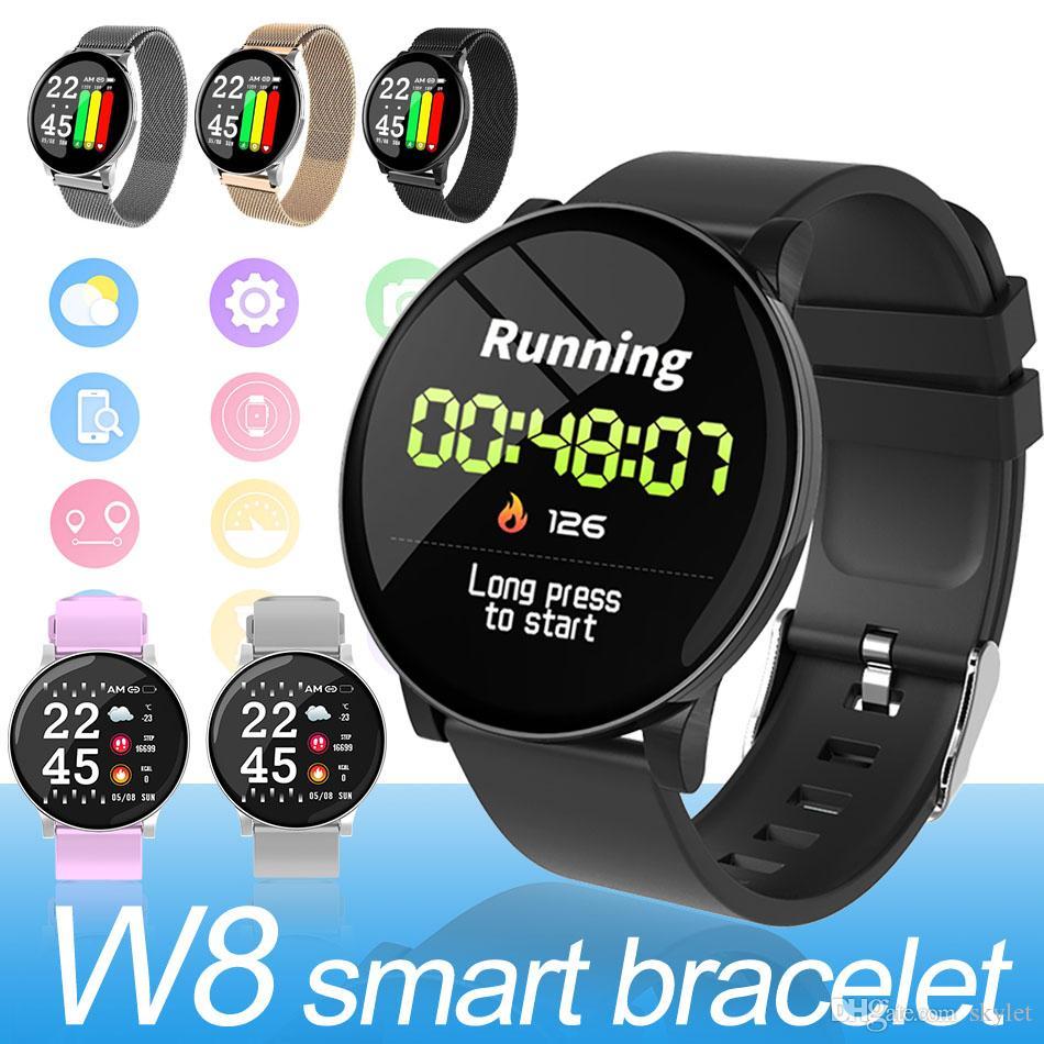제품과 함께 W8 스마트 시계 지능형 모니터 피트니스 추적기 스포츠 실리콘 팔찌 IP67 SmartWatch를 지원 안드로이드 장치