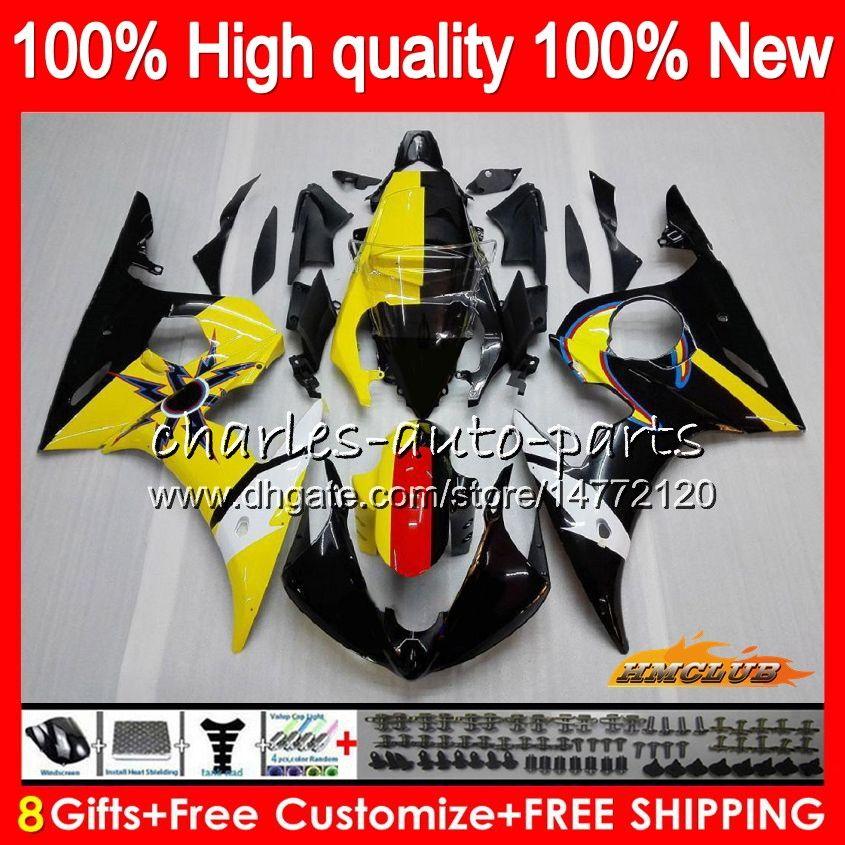 Body+8Gifts For YAMAHA YZF R6 S yellow black YZF600 YZFR6S 06 07 08 09 60HC.15 YZF-600 YZF R6S 06-09 YZF-R6S 2006 2007 2008 2009 Fairing Kit