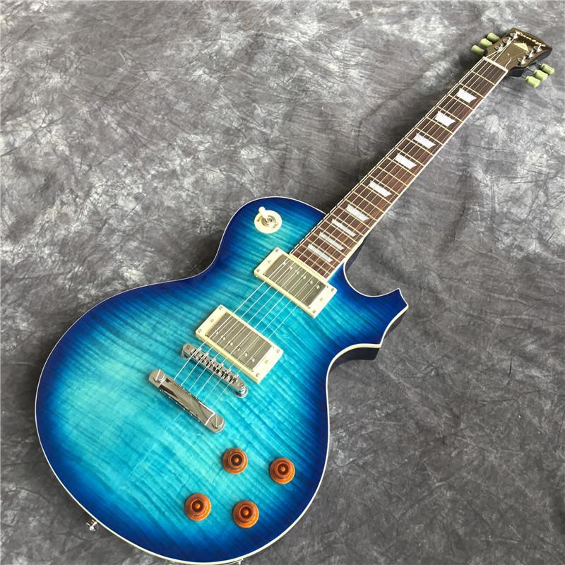 Kaliteli 6 telli LP elektro gitar, mavi kaplan alev gitar. Maun gitar gövde. Gerçek fotoğraf. Ücretsiz kargo