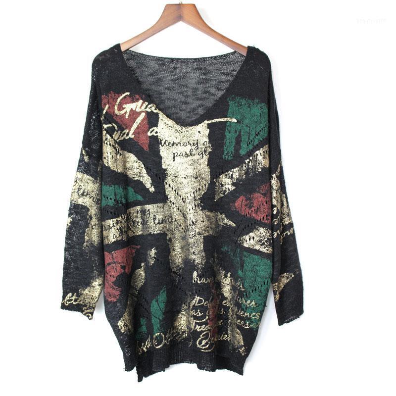Punk roche automne nouvelle mode V trou de col creux à manches pleine taille Puls chandail dessus des femmes Streetwear outwear tops1