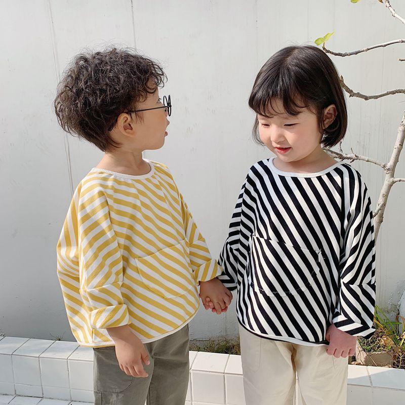 grande tasca le ragazze dei ragazzi a strisce casuale T shirt bambini in cotone collo rotondo allentato manica lunga Tees 1-6Y T200413