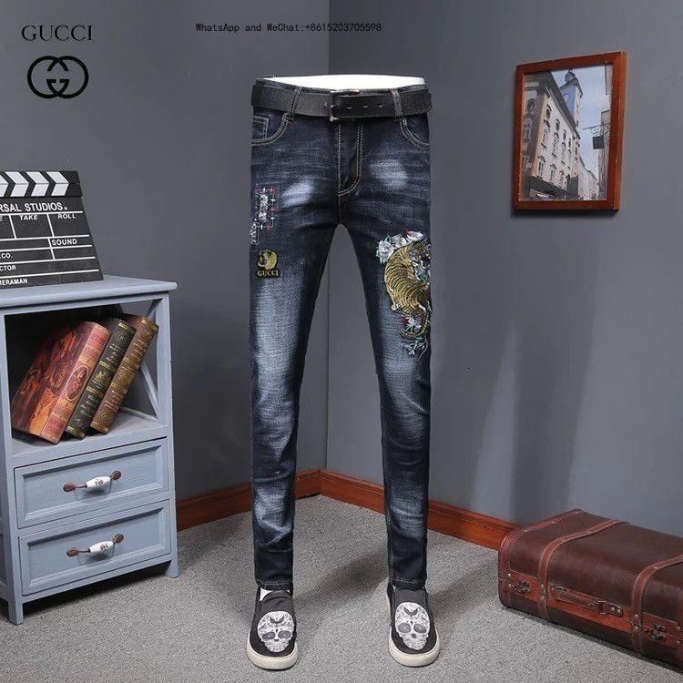 High Street hommes Tendance Homme Jeans Mode Pantalons Locomotive Slim Splicing Biker bonne qualité