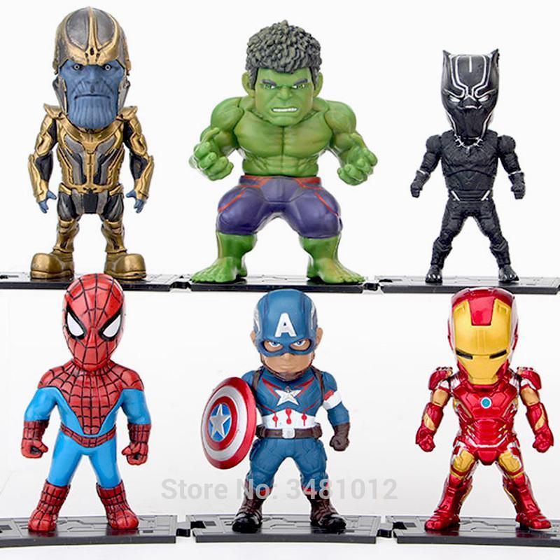8Pcs//SET Avengers 3 Infinity War Thanos Spiderman Action Figures Kids Toys Dolls