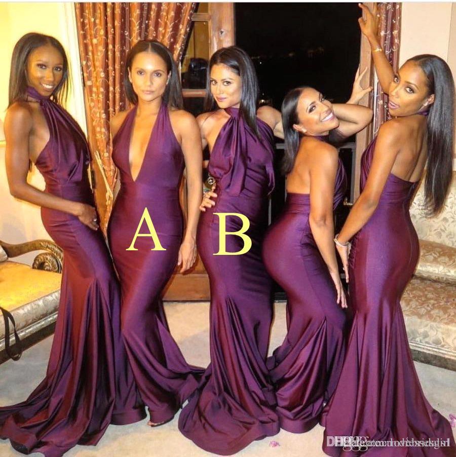 Sexy de color púrpura oscuro sirena bridesmiad Dreses con cuello en V profundo Dos Estilo piso longitud dama de honor vestido hecho a medida