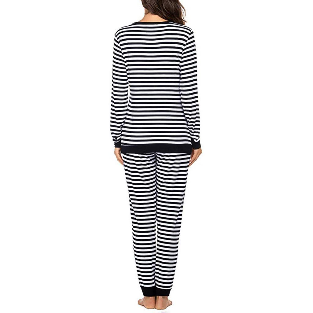 Maternidade Pijamas Mulheres Maternidade manga comprida T-shirt Enfermagem Tops + Calças Pijama Listrado Set Suit Pijama Embarazo #SS