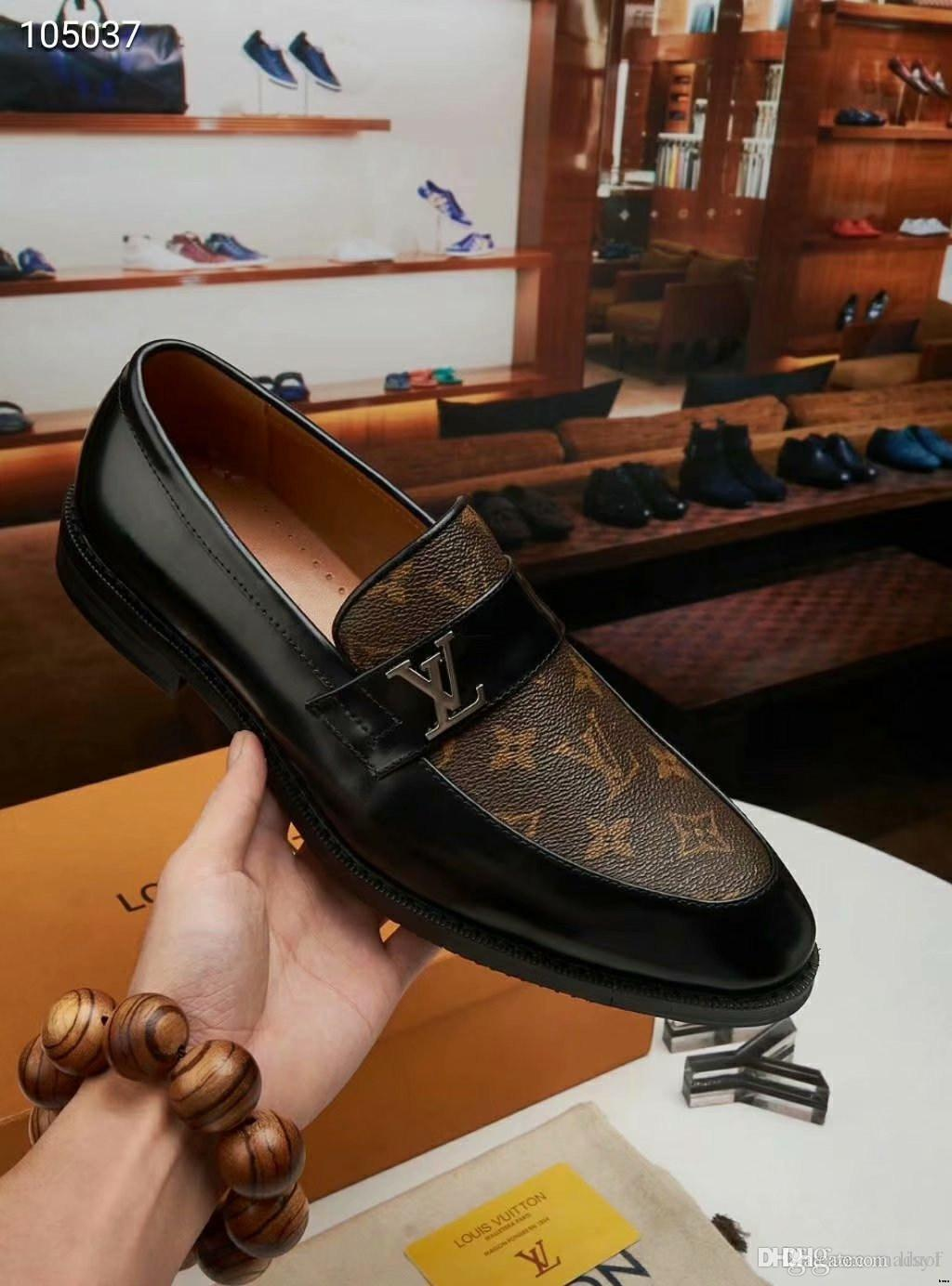 19FW Marken Luxury neue formale Schuhe Herren Business Office Lederschuhe Männer Big Size Luxus Designer Mens-beiläufige Kleid-Schuh-Mode LISY1