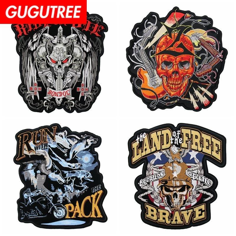 de grandes taches de dessin animé animal patch lettre du crâne badges de GUGUTREE patches pour les vêtements FD Appliqué-6