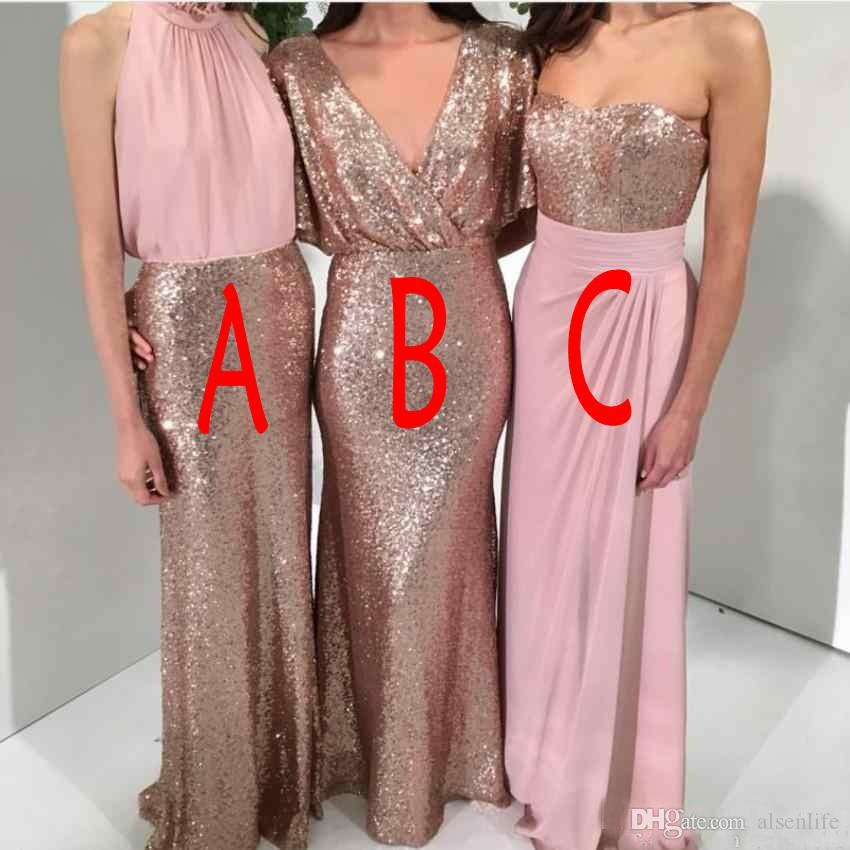 2018 Sequins Bling Mermaid Bridesmaid Dresses Halter V Neck Rose Gold and Pink Three Style Long Prom Maid of Honor Wedding Guest Gowns