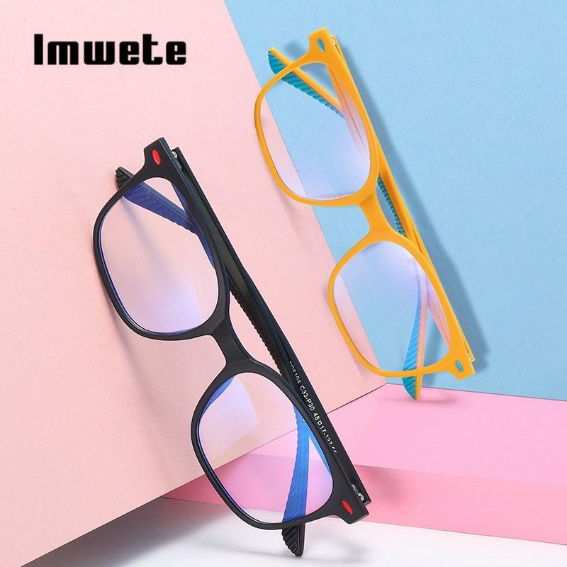 Imwete Mode TR Anti-bleu clair montures de lunettes rétro Myopie lunettes Cadre de fille de garçon Place d'ordinateur Lunettes de 7-12 Ans Enfants