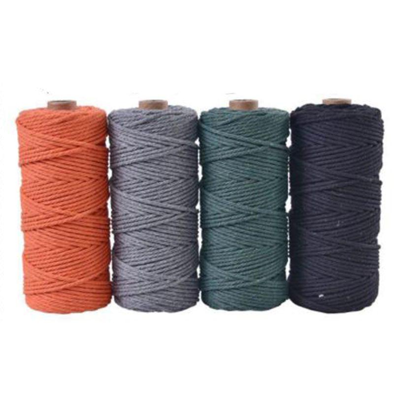 Início Jardim 100m 100% Natural Cotton Cordas Bakers Cordéis Cordas Cord Rope País rústico Craft cabo cor Macrame Artisan 3 milímetros
