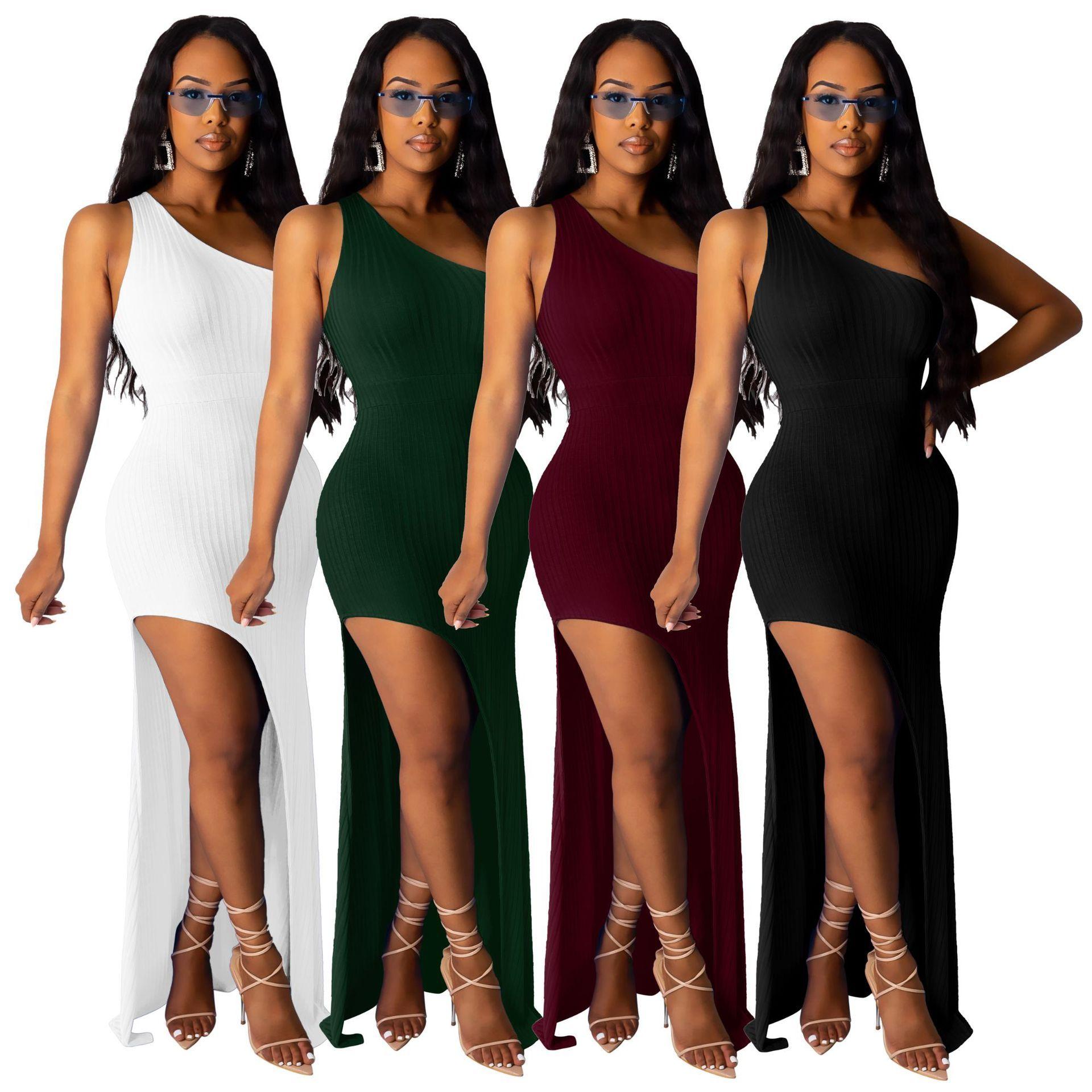 HISIMPLE 2019 femmes sexy solide couleur haute fendus asymétrique robe de soirée une épaule Robe moulante longue